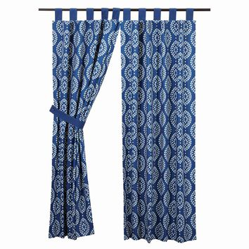 Paloma Indigo Short Panel Curtains