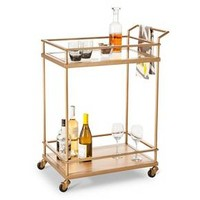 Wood & Glass Gold Finish Bar Cart - Threshold™ : Target