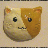 Cute Fat Calico Cat Head Polymer Magnet