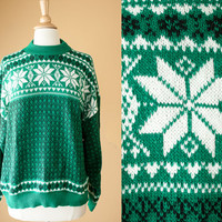 Vintage Snowflake Sweater | Tacky Xmas Ugly Christmas Sweater Preppy Novelty Holiday Jumper Winter Fair Isle 80s Sweater Slouchy Cosby Boxy