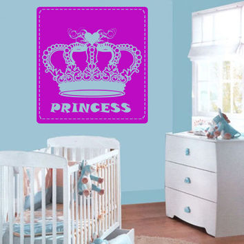 Wall decal decor decals princess crown nursery inscription letter cartoon cheerful girl story gift (m611)