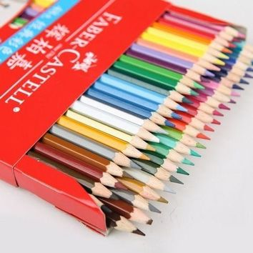 2017 NEW Colored 12/24/36/48 Colors Wooden color Drawing Pencils Set Free Sharpener