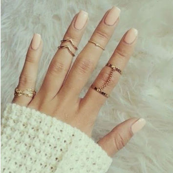 women fashion 6 pieces  joint ring set auger leaves chain ring = 1958340804