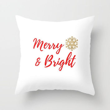 Christmas Pillows with Sayings, Christmas Decor Pillows, Christmas Pillow Cover 20x20, Gold Pillow Cases, Snow Flakes Pretty, Typography