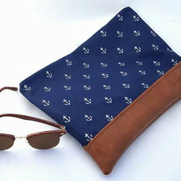 Large Navy and white nautical clutch bag with anchors and rust brown bottom