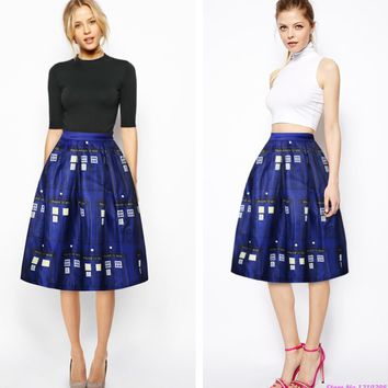 Dark Blue Police Box Women Skirts Digital Printing Tardis Skirt Ladies Knee-Length High Waist Long Pleated Skirts Autumn Leisure