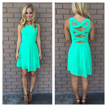 Mint Criss Cross Back Dress