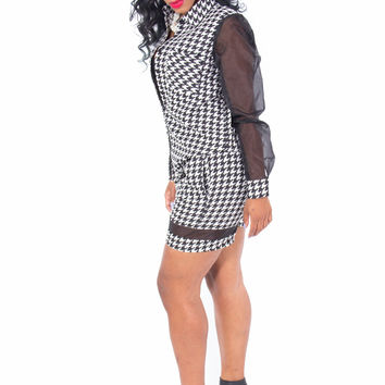 HoundsTooth Short Set with Organza Contrast