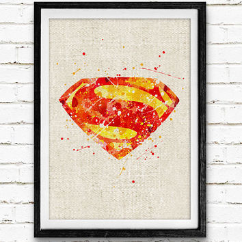 Superman Watercolor Art Print, Man of Steel Watercolor Poster, Superhero Wall Art, Home Decor, Not Framed, Buy 2 Get 1 Free