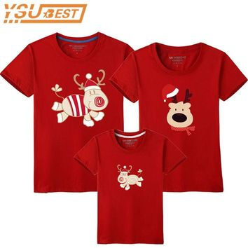 Family Look Christmas Family Matching Outfits T Shirt Mother Daughter Short Sleeve Dad Mom Baby Family Suit Father Son Clothes