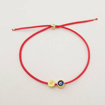 Custom Red Bracelet with Evil Eye and Initial Tag, Initial Kabbalah Bracelet, Energy Jewelry, Talisman Bracelet, Personalized /  B443