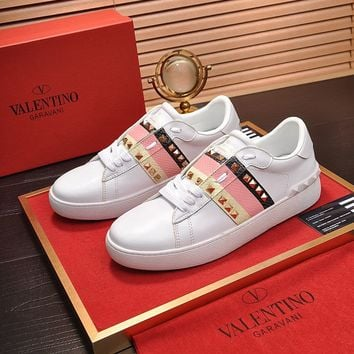 Valentino Men's Leather ROCKSTUD Sneakers Shoes