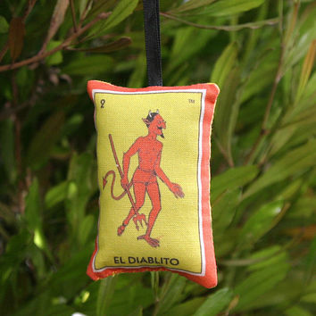 El Diablito Devil Mexican Loteria Christmas Ornament - Dia De Los Muertos / Day of the Dead