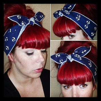 White Anchors on Navy one sided WIDE Headwrap Bandana Hair Bow Tie 1950s Vintage Style - Rockabilly - Pin Up - For Women, Teens