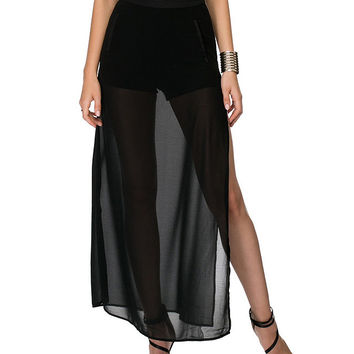 Black Sheer Mesh Skirt with Long Side Slit