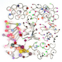 Tinksky 100pcs Assorted Acrylic Tongue Lip Labret Navel Belly Eyebrow Rings Bars Barbell Body Piercing Jewelry (Random Color)