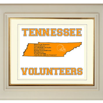 Football Art Print Tennessee Volunteers Fight Song State Map Outline 10x8 College Sports
