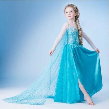 New 3-9 Y Girls Dresses Cartoon Cosplay Snow Queen Princess Dress Elsa Dresses Anna Cloak+Dress 2pc Sets Baby Kids Clothing
