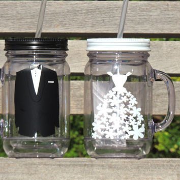 Acrylic mason jar, wedding mason jar, bride mason mug, groom mason mug, bridal party favor, wedding party favor