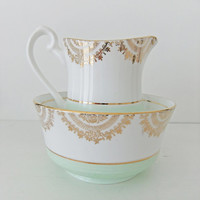 Vintage China Milk Jug and Sugar Bowl -  Phoenix China Sugar and Cream Set in mint green - pastel green