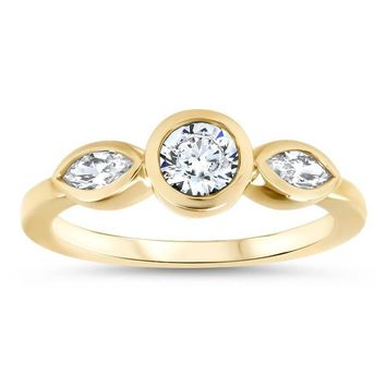 Dainty Three Stone Bezel Set Engagement Ring Diamond Marquise Side Stones Round Moissanite Center Stone Ring - Hazel
