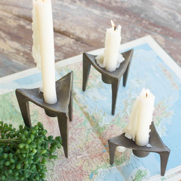 Set of 3 Cast Iron Tripod Candle Holders - Antique Brass