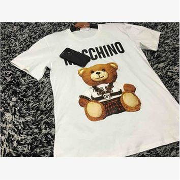 MOSCHINO 2018 Couples Bear Short-Sleeved Cotton T-Shirt White