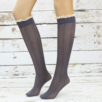 Soft Micro Fishnet Knee Highs Gray lace socks sexy leg warmer girly boot socks boot cuffs women's accessory birthday gifts knee socks