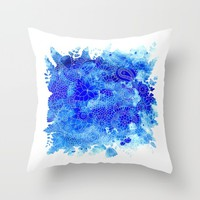 Blue Floral Pattern 02 Throw Pillow by Aloke Design