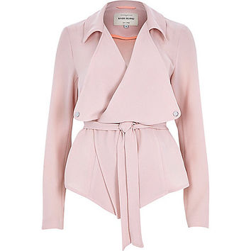 River Island Womens Light pink cropped drape trench coat