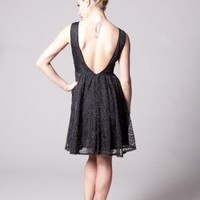 S/L SKATER LACE DRESS WITH OPEN BACK