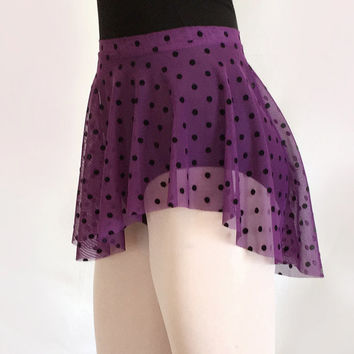 Purple Flocked Polka Dot Mesh Ballet Dance Skirt - SAB Style- Royall Dancewear- Lyrical- Pull On