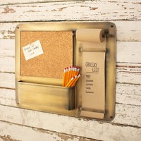 Antique Brass Note Roll With Cork Board
