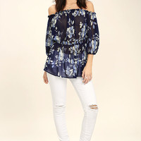 Sunny Honey Navy Blue Floral Print Off-the-Shoulder Top