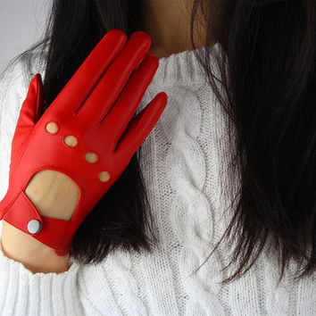 Real Leather Short Gloves - with Button Belt - Genuine Sheepskin Lambskin - Women Lady Gaga - Handmade Hot Red = 1957999492