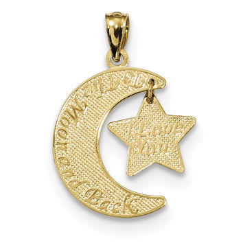 14k Love You to the Moon & Back Moon & Star Pendant K5963
