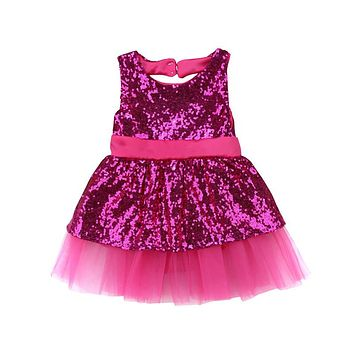 Fashion Sequins Bowknot Dress For Girls  Princess Party Dress For Gilrs Gown Formal Bridesmaid Dresses Baby Girl Vestido