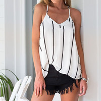 Spaghetti Strap White with Black Stripe Top