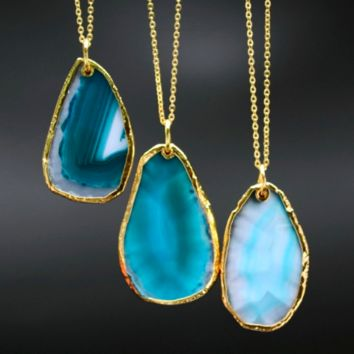 Agate Turquoise Stone Necklace