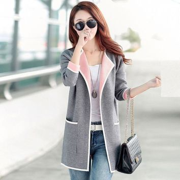 CREYL 2016 Autumn Woman's dust coat ladies knit cardigan all-match fashion female long cape coat lady trench coat woollen sweater