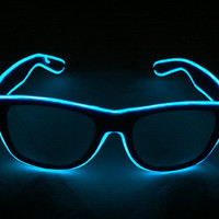 Blue Glow Glasses - Battery Powered Glowing EL Rave Party Eyewear