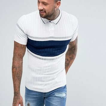 River Island Knitted Polo With Stripes In Ecru at asos.com