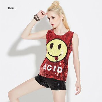 CREYHY3 New 2017 Smile Sequined Tank Tops Women Summer Blended Hop Shining Bling Sleeveless Dance Party Tshirt Jazz Cheerleader Costume