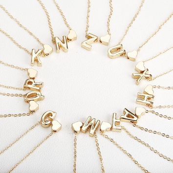 Tiny Gold Initials Necklace