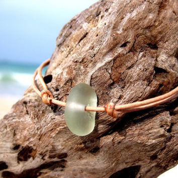 Hawaiian Light Aqua Blue Beach Glass on India Leather Cord Completely Adjustable & Stackable Bracelet