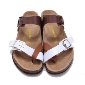 dfc5b6d949ff7 2017 New Style Birkenstock Summer Fashion Leather Cork Flats Bea.  Birkenstock for Women and men This graceful cross strap sandal ...
