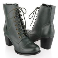 Medium Heel Leatherette Boots