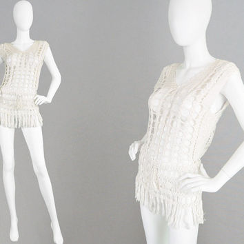 Vintage 80s 90s Crochet Top Open Knit Hand Crocheted Fringe Hem 1970s Style Boho Top Indian Cotton Summer Festival Clothing Hippie Vest