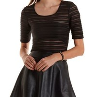 Sheer-Striped Textured Crop Top by Charlotte Russe