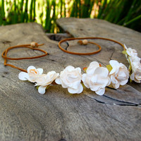 Pretty Cream Rose Flower Headband/Halo/Crown - Boho Hippie Wedding Coachella Festival EDC  Rave Accessory